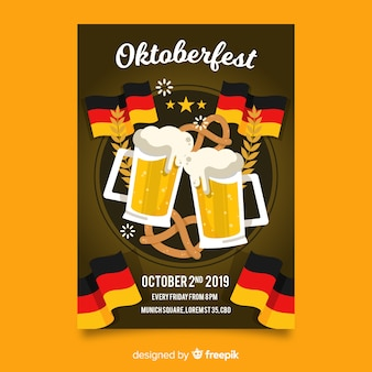 Oktoberfest poster sjabloon plat ontwerp