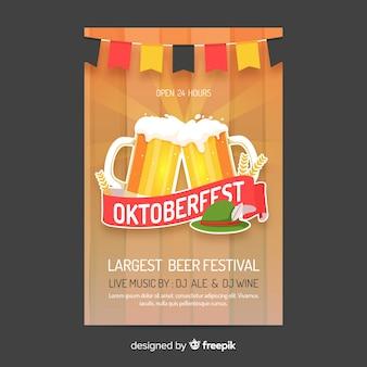 Oktoberfest poster sjabloon vlakke stijl
