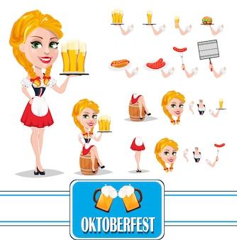 Oktoberfest, roodharige meisje tekenset creatie
