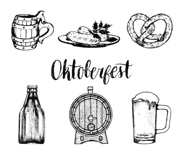 Oktoberfest symbolen collectie voor bierfestival flyer en poster. handgetekende set glazen mok, krakeling, vat etc. voor brouwerijetiket of badge.