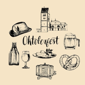 Oktoberfest symbolen collectie voor bierfestival. hand geschetste set glazen mok, krakeling, vat etc. voor brouwerijetiket of badge.