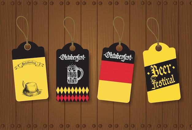 Oktoberfest tags of labels instellen duits bierfestival