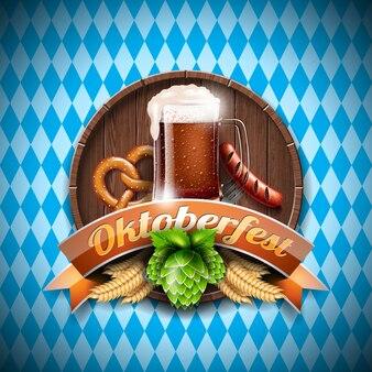 Oktoberfest vector illustratie met vers donker bier op blauwe witte achtergrond. viering banner voor traditionele duitse bierfestival.