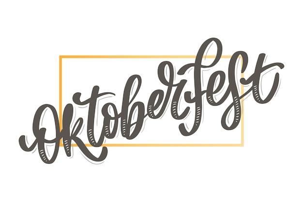 Oktoberfest viering achtergrond. gelukkig oktoberfest in duitse letters typografie. bierfestival decoratie kentekenpictogram.