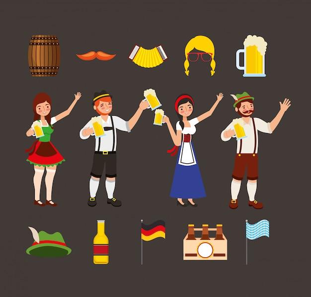 Oktoberfest viering illustratie, bierfestival ontwerp met set pictogrammen en custome mensen