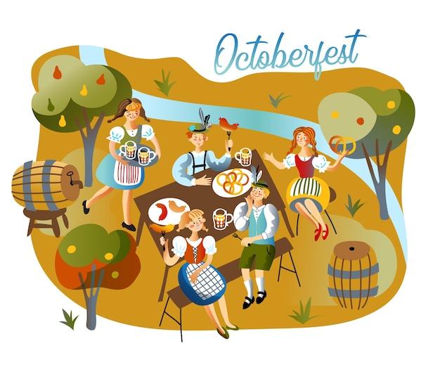 Oktoberfest viering illustratie, mensen drinken, serveerster in traditionele beierse kleding die alcoholdrank brengt.