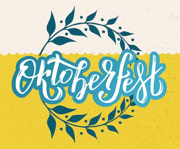 Oktoberfest viering ontwerp. belettering typografie, bloemen krans frame.