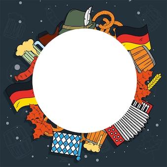 Oktoberfest viering pictogrammen rond