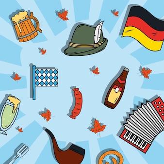 Oktoberfest viering pictogrammen