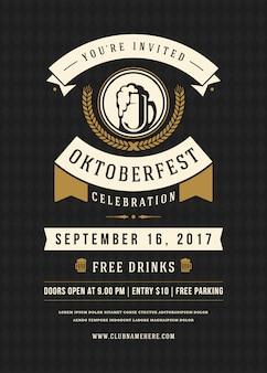Oktoberfest viering van de de vierings retro typografie van het bierfestival
