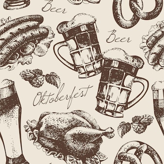 Oktoberfest vintage naadloos patroon. handgetekende illustratie