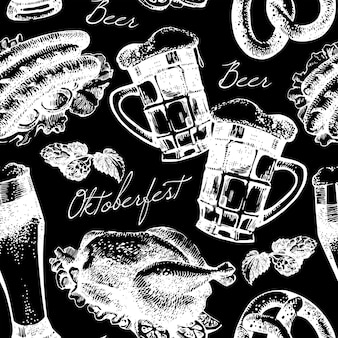 Oktoberfest vintage naadloze patroon. hand getrokken schets vectorillustratie
