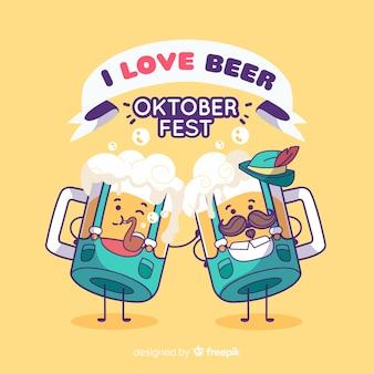Oktoberfestachtergrond met grappige kruiken bier