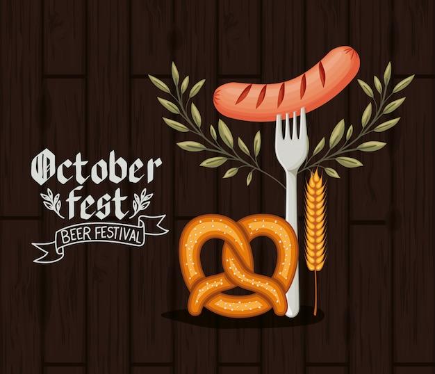 Oktoberfestachtergrond met voedsel