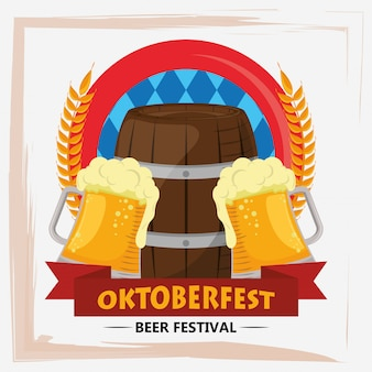 Oktoberfestviering met bierkruiken en vaten