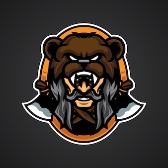Old man bear head logo