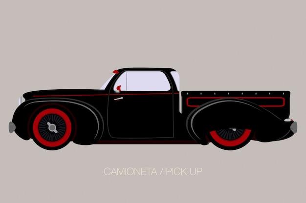 Old school pick-up, vector auto pictogram, zijaanzicht van de auto