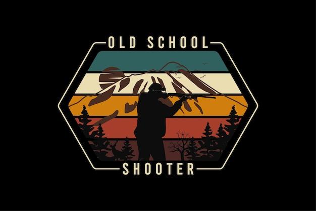 Old school shooter, ontwerp slib retro-stijl.