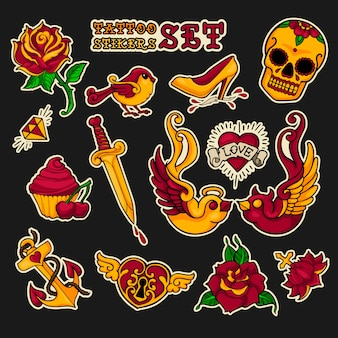 Old school stikers tattoo set