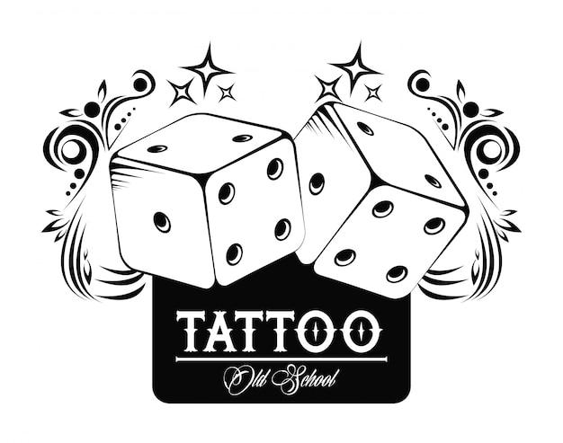 Old school tatoeage met dobbelstenen tekening ontwerp
