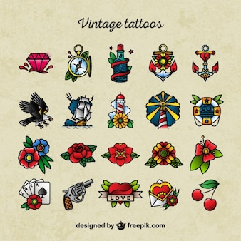 Old school tattoo pictogrammen