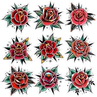 Old school tattoo rode rozen met bladeren set