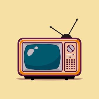 Old school televisie plat ontwerp