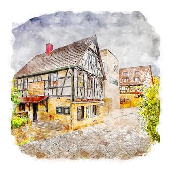 Old town duitsland aquarel schets hand getekende illustratie