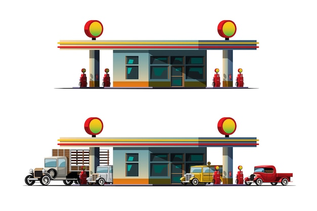 Oldtimers wachten om te tanken bij tankstation