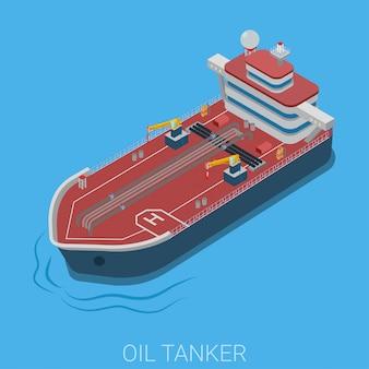 Olie aardolie transport oceaan zee tanker vlakke isometrische illustratie.