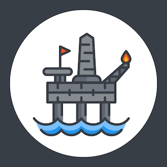 Olie boorplatform pictogram, offshore tuig, vlakke stijl met omtrek, vectorillustratie