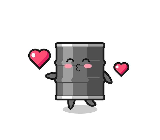 Olie drum karakter cartoon met kussend gebaar, schattig ontwerp