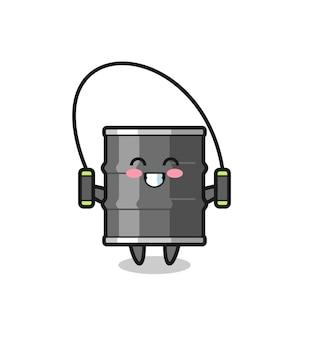 Olie drum karakter cartoon met springtouw, schattig design
