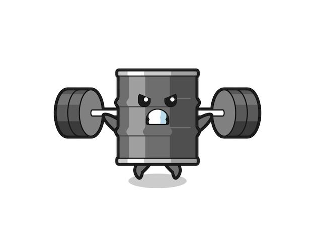 Olie drum mascotte cartoon met een barbell, schattig design