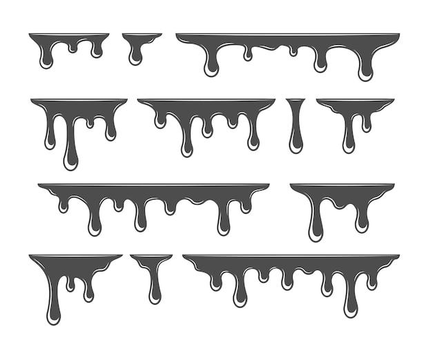 Olie druppelen silhouet. spatten verfsjabloon. siroop infuus collectie. vector illustratie