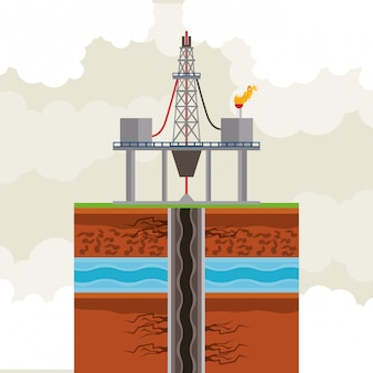 Olie- en aardoliepomp ronde pictogram