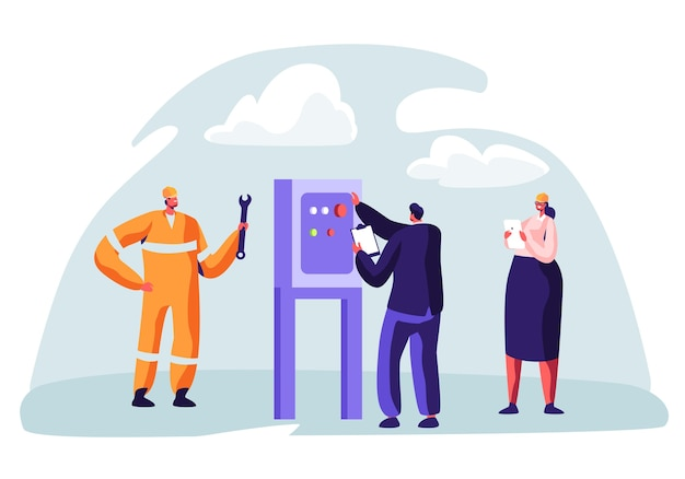 Olie- en gasindustrie concept met man karakter bezig met de pijpleiding. oilman werknemer op productielijn benzine raffinaderij met vrouw check kwaliteitscontrole.