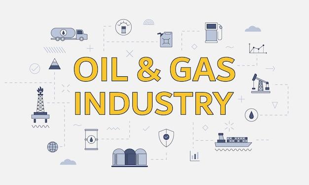 Olie- en gasindustrieconcept met pictogrammenset met groot woord of tekst op het midden vectorillustratie