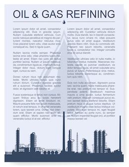 Olie en gasraffinaderij of chemisch installatiesilhouet