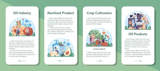 Olie-extractie of productie-industrie mobiele applicatie banner set. plantaardige olie. biologisch vegetarisch ingrediënt voor koken en niet-eetbare productie. platte vectorillustratie