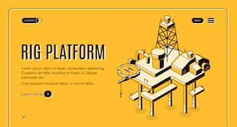 Olie-extractie op zee en continentaal plat webbanner met offshore boorplatform
