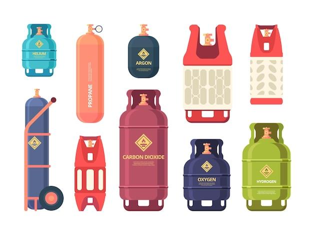 Olie gasfles. industriële stalen flessen voor vloeibaar samengeperst gas of lucht.