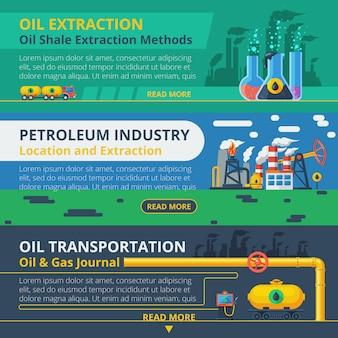 Olie-industrie banner set