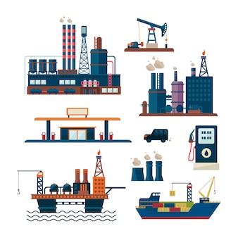 Olie-industrie bedrijfsconcept benzine diesel productie brandstof distributie en transport vier pictogrammen samenstelling