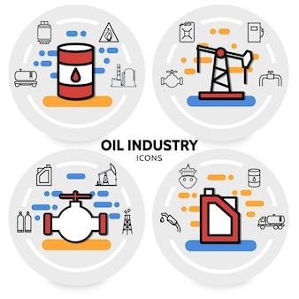 Olie-industrie concept met bus booreiland klep vat raffinaderij fabriek pijp brandstofpomp dispenser vrachtwagen