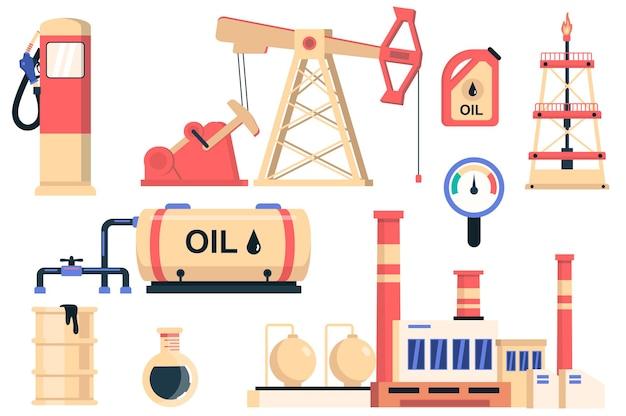 Olie-industrie geïsoleerde elementen set bundel van benzinestation brandstof bus olievat productie