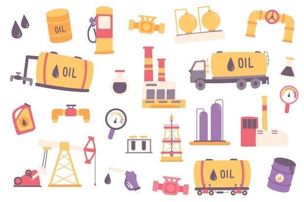 Olie-industrie geïsoleerde objecten set verzameling van aardolie en brandstofwinning transport