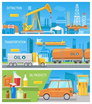 Olie-industrie geoliede technologie aardoliewinning en transport illustratie set van industriële apparatuur voor het produceren van olieachtige brandstof