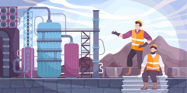 Olie-industrie illustratie met olie-extractie vlakke afbeelding