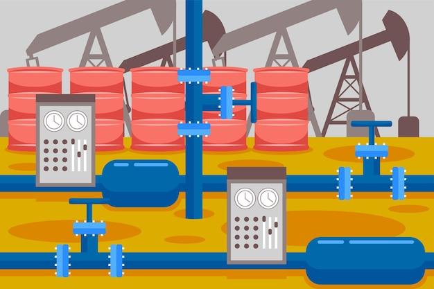 Olie-industrie in vlakke stijl